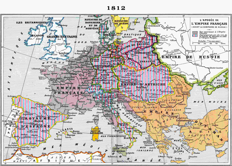 carte europe napoleon 1812
